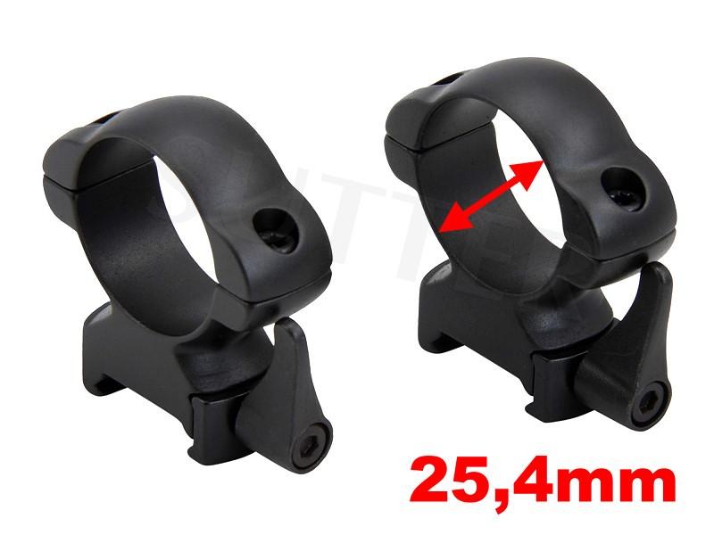 PREMIUM Schnellspann-Montageringe d=25,4mm für 19-22mm *Aus Stahl*
