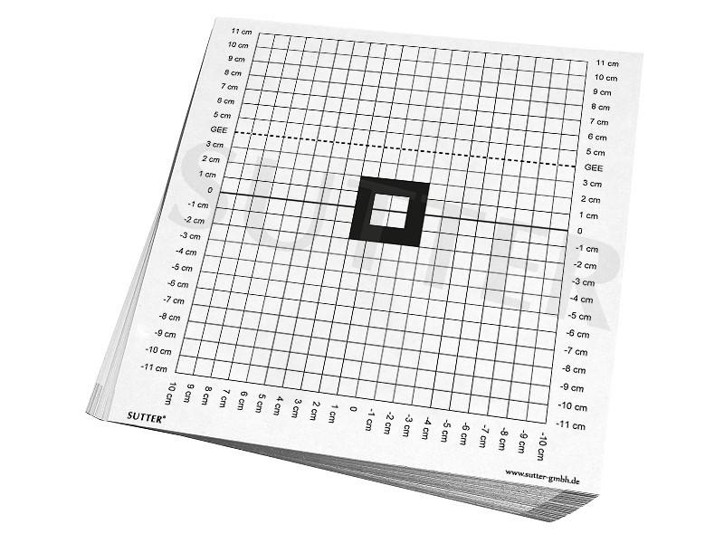 Anschussscheiben zum Einschießen und Kontrollschießen der Waffe / Zielscheiben 26x26cm / 50er Pack