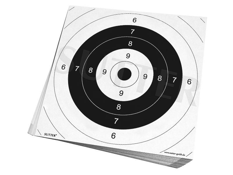 Einsteckscheiben 26x26cm für Zielscheiben (weiß) / für Mehrdistanz-Schießen und Kurzwaffe / 50er Pack
