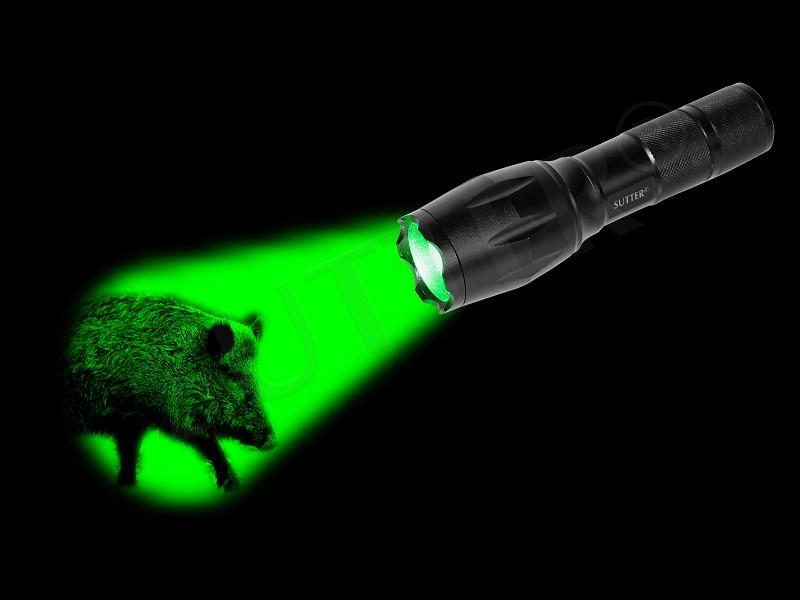 ZOOM LED Jagd Taschenlampe mit GRÜN-Brenner und 2000LM