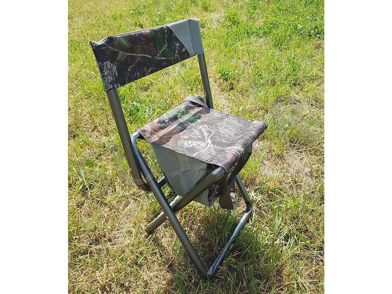 Robuster Ansitzstuhl mit 5 Liter Tasche und Tragegurt (zusammenklappbar) und Rucksack - auch für Hochsitze