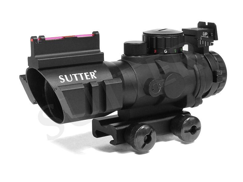Reflex-Zielvisier 4x32mm mit Fiberoptic (Red-Dot/Green-Dot Scope) für 11mm Prismenschiene oder für Weaver- und Picatinnyschiene (bitte auswählen!)