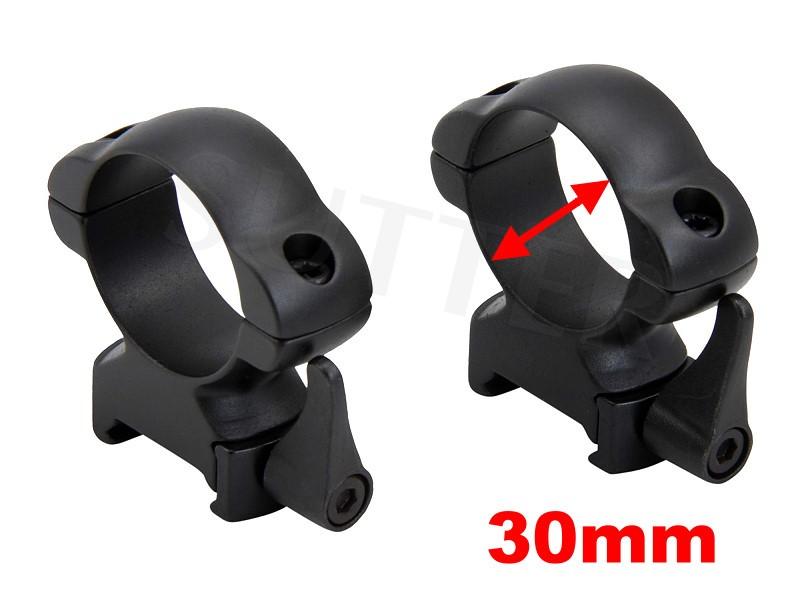 PREMIUM Schnellspann-Montageringe d=30mm für 19-21mm Weaver- und Picatinnyschiene aus Stahl