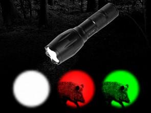 LED ZOOM-Taschenlampe mit 3 Farben (Weiß, Rot, Grün)